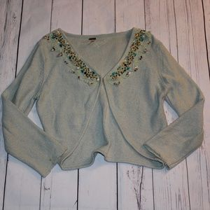 Free People Open Front Cropped Beaded Sweater